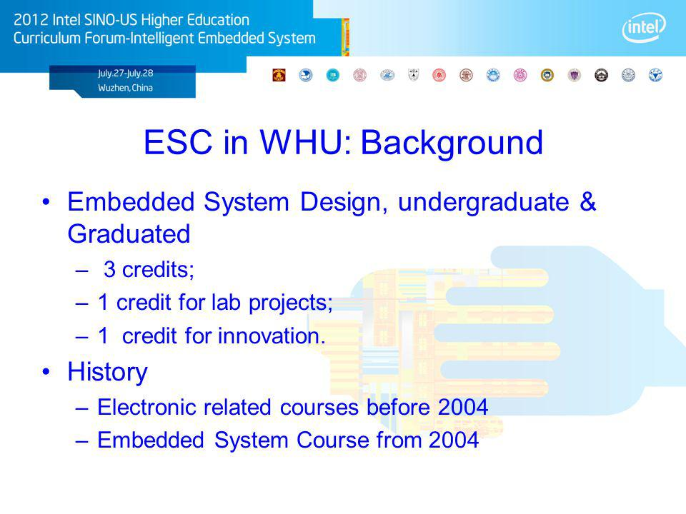 ESC in WHU: Background Embedded System Design, undergraduate & Graduated – 3 credits; –1 credit for lab projects; –1 credit for innovation. History –E