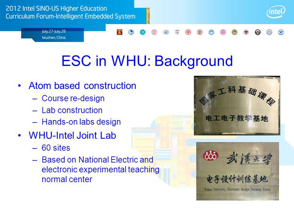 ESC in WHU: Background Atom based construction –Course re-design –Lab construction –Hands-on labs design WHU-Intel Joint Lab –60 sites –Based on Natio