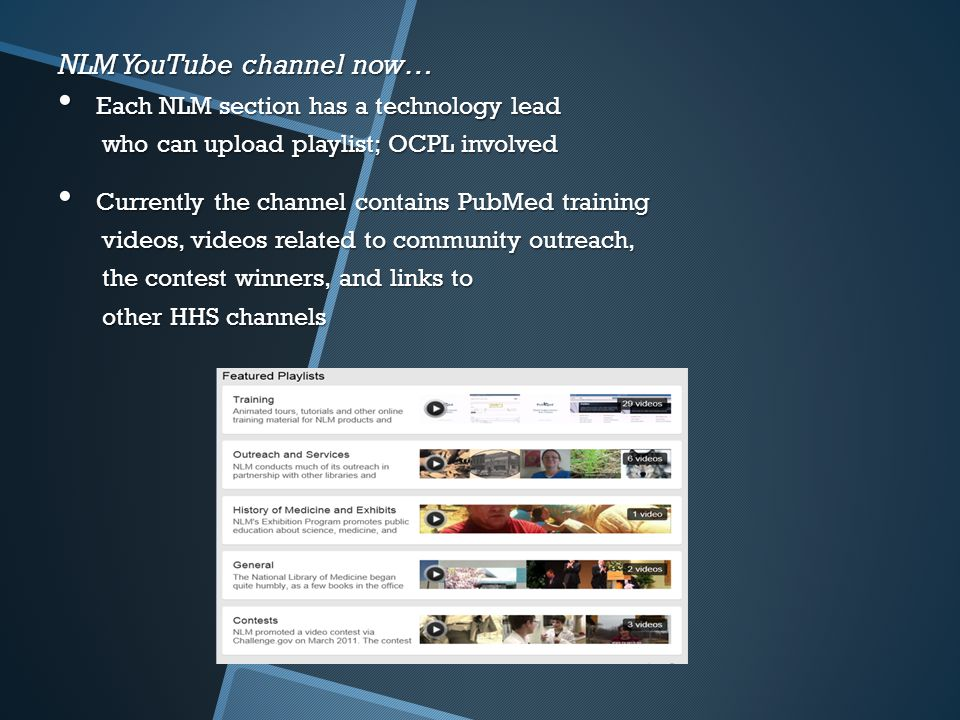 NLM YouTube channel now… Each NLM section has a technology lead Each NLM section has a technology lead who can upload playlist; OCPL involved who can