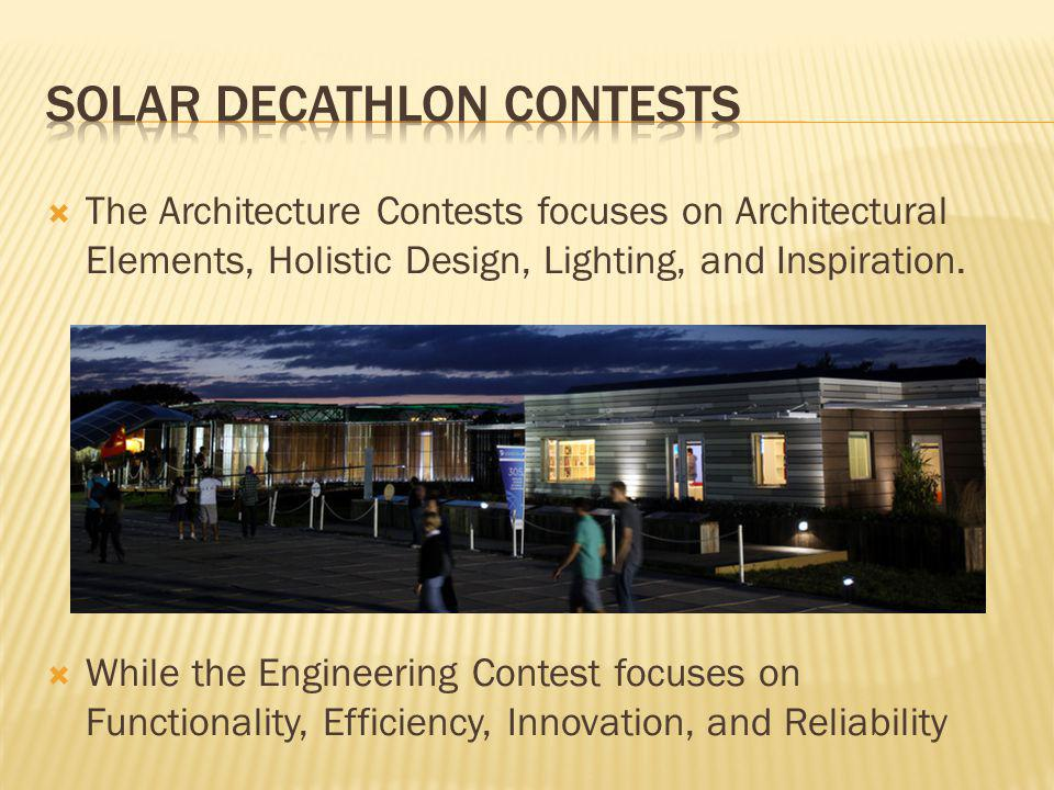 The Architecture Contests focuses on Architectural Elements, Holistic Design, Lighting, and Inspiration.