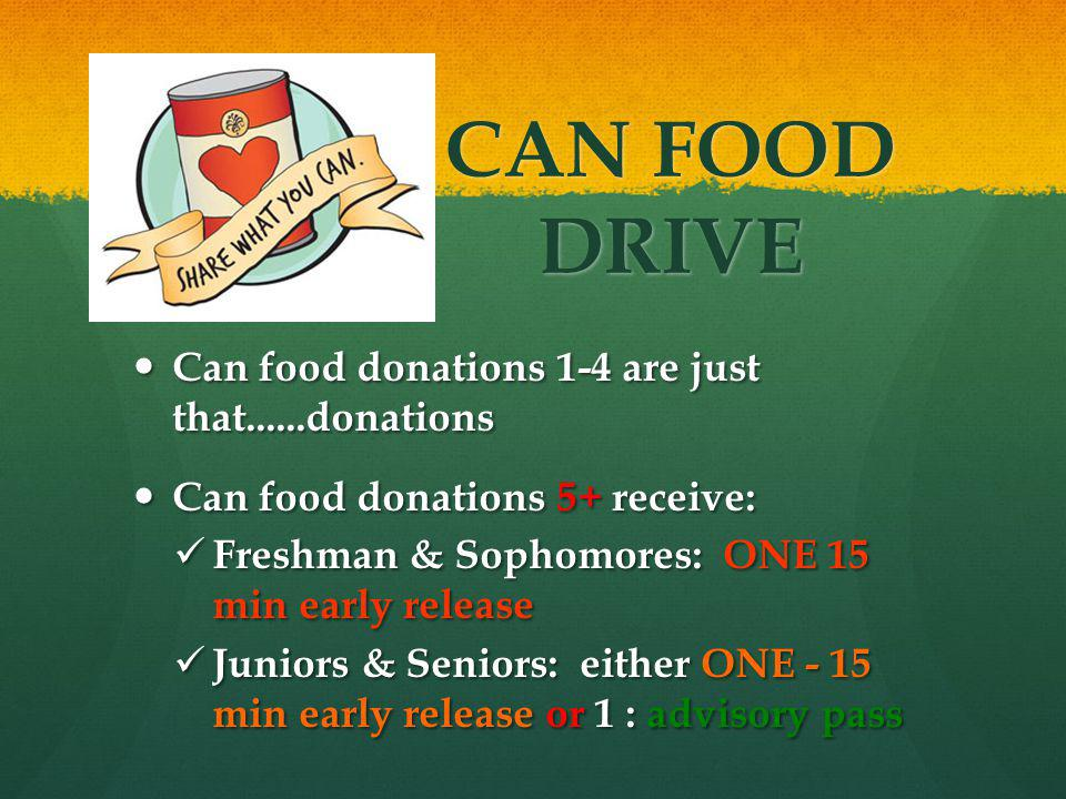 CAN FOOD DRIVE Can food donations 1-4 are just that......donations Can food donations 1-4 are just that......donations Can food donations 5+ receive: