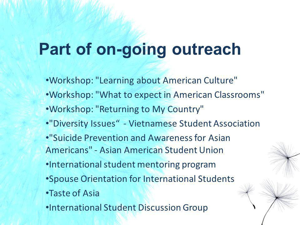 Part of on-going outreach Workshop: Learning about American Culture Workshop: What to expect in American Classrooms Workshop: Returning to My Country Diversity Issues - Vietnamese Student Association Suicide Prevention and Awareness for Asian Americans - Asian American Student Union International student mentoring program Spouse Orientation for International Students Taste of Asia International Student Discussion Group