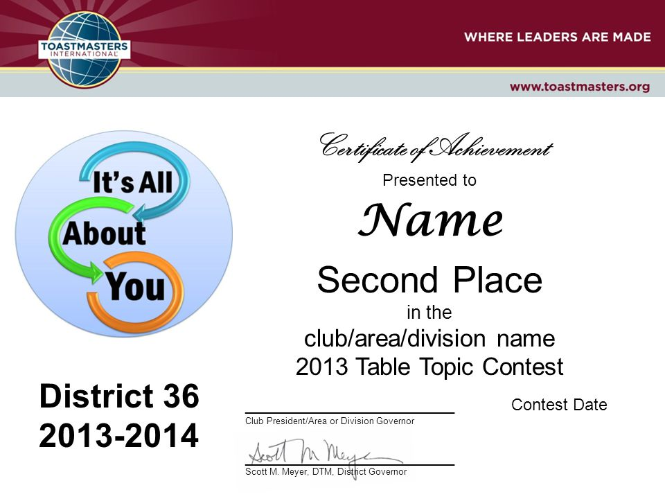 Presented to Name Second Place in the club/area/division name 2013 Table Topic Contest _______________________Contest Date Club President/Area or Division Governor _______________________ Scott M.