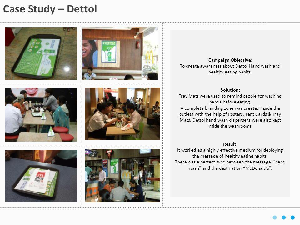 Campaign Objective: To create awareness about Dettol Hand wash and healthy eating habits. Solution: Tray Mats were used to remind people for washing h