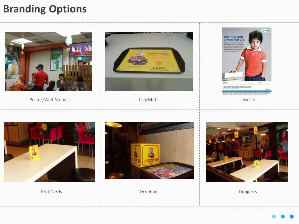 Tent CardsDropboxDanglers Branding Options Poster/Wall MountTray MatsInserts
