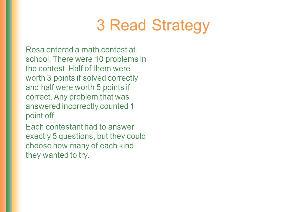Rosa entered a math contest at school. There were 10 problems in the contest. Half of them were worth 3 points if solved correctly and half were worth