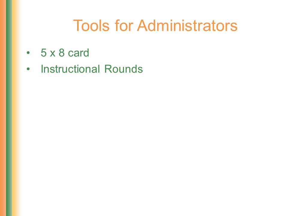 Tools for Administrators 5 x 8 card Instructional Rounds