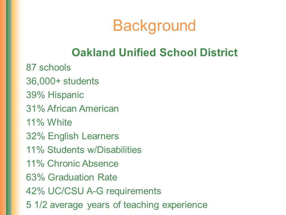 Background Oakland Unified School District 87 schools 36,000+ students 39% Hispanic 31% African American 11% White 32% English Learners 11% Students w/Disabilities 11% Chronic Absence 63% Graduation Rate 42% UC/CSU A-G requirements 5 1/2 average years of teaching experience