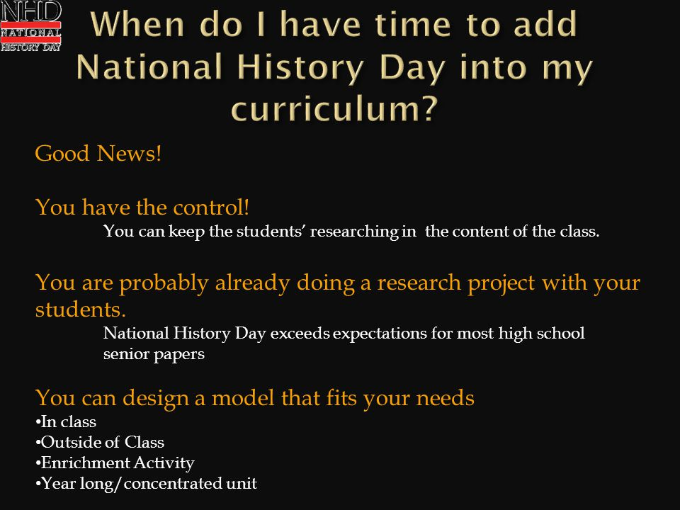 Good News! You have the control! You can keep the students researching in the content of the class. You are probably already doing a research project
