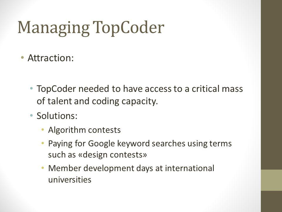 Managing TopCoder Norms: TopCoder had to maintain the highest standarts of contest integrity, fairness, transparency and quality.