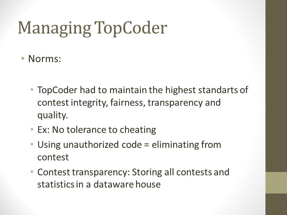 Managing TopCoder Governance: TopCoder executives are responsible for final decisions Executives got feedback from community by forums Disagreement between contestant & reviewer: TopCoder employee and contestant investigated