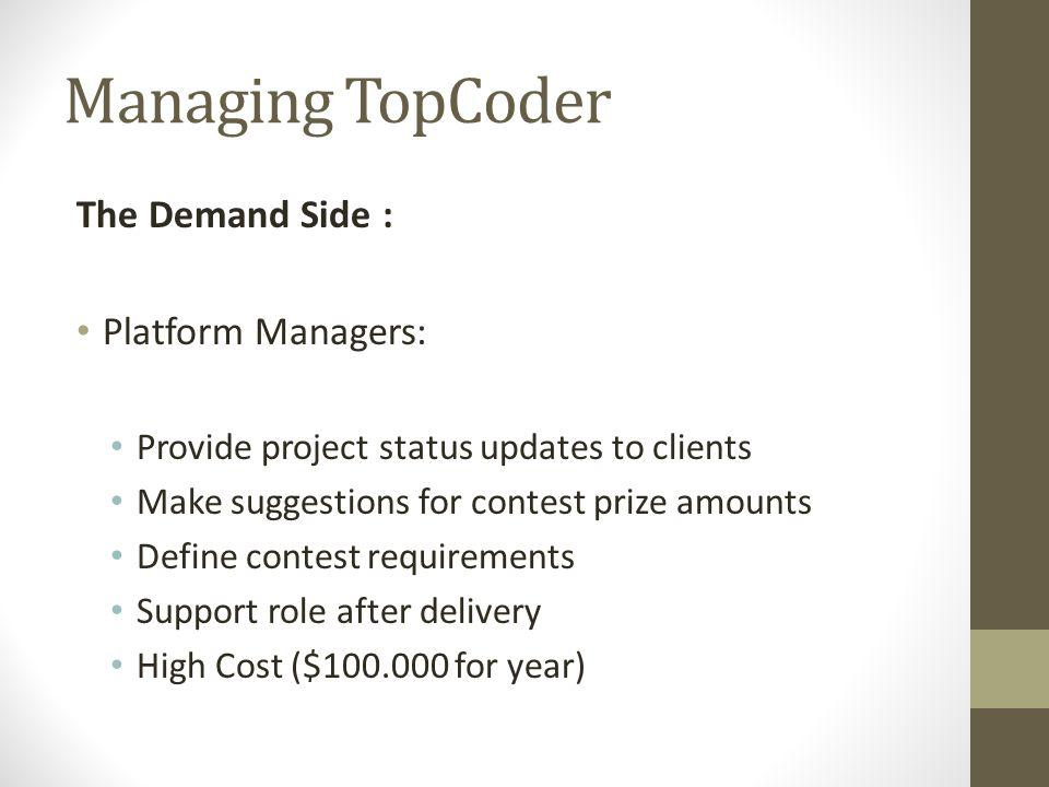Managing TopCoder The Demand Side : Platform Managers: Provide project status updates to clients Make suggestions for contest prize amounts Define con