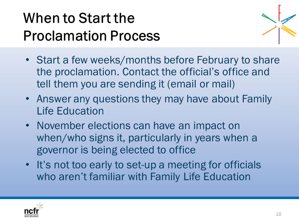 When to Start the Proclamation Process Start a few weeks/months before February to share the proclamation.