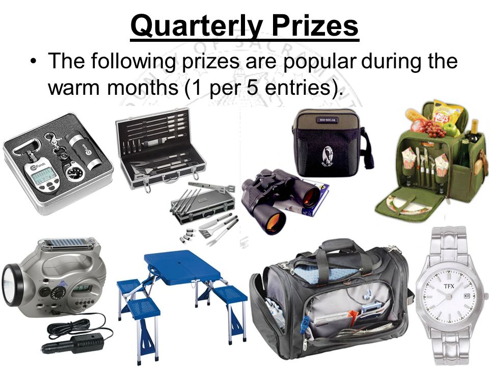 The following prizes are popular during the warm months (1 per 5 entries). Quarterly Prizes