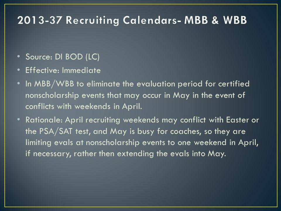 Source: DI BOD (LC) Effective: Immediate In MBB/WBB to eliminate the evaluation period for certified nonscholarship events that may occur in May in the event of conflicts with weekends in April.