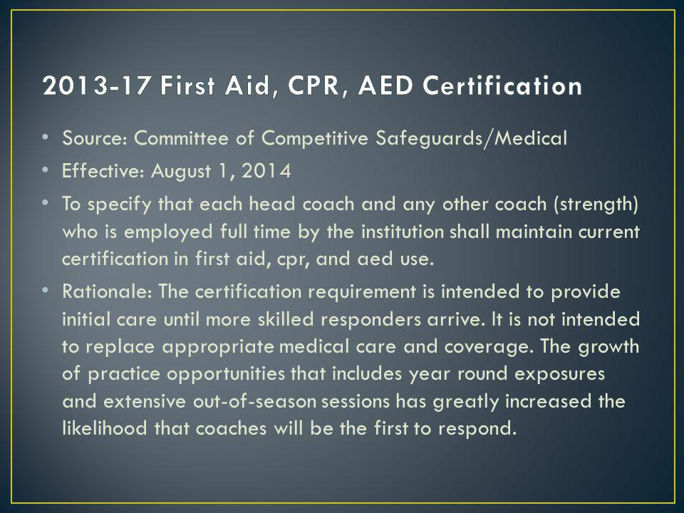 Source: Committee of Competitive Safeguards/Medical Effective: August 1, 2014 To specify that each head coach and any other coach (strength) who is employed full time by the institution shall maintain current certification in first aid, cpr, and aed use.