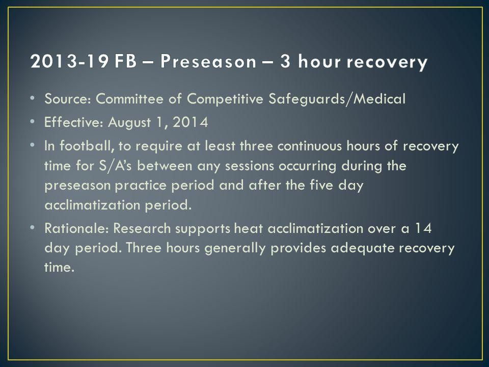 Source: Committee of Competitive Safeguards/Medical Effective: August 1, 2014 In football, to require at least three continuous hours of recovery time for S/As between any sessions occurring during the preseason practice period and after the five day acclimatization period.
