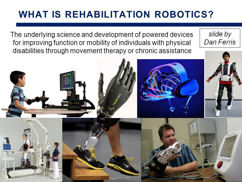 In 2028, 100% of rehabilitation studies will use a robot Rehabilitation Robotics Publications (as a Percentage of Rehabilitation Publications) slide by Dan Ferris