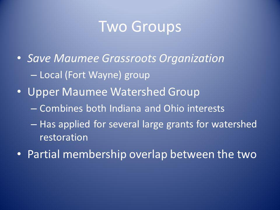 Two Groups Save Maumee Grassroots Organization – Local (Fort Wayne) group Upper Maumee Watershed Group – Combines both Indiana and Ohio interests – Ha
