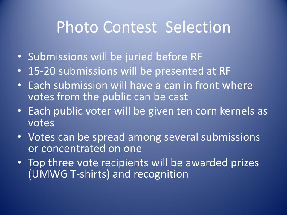 Photo Contest Selection Submissions will be juried before RF 15-20 submissions will be presented at RF Each submission will have a can in front where
