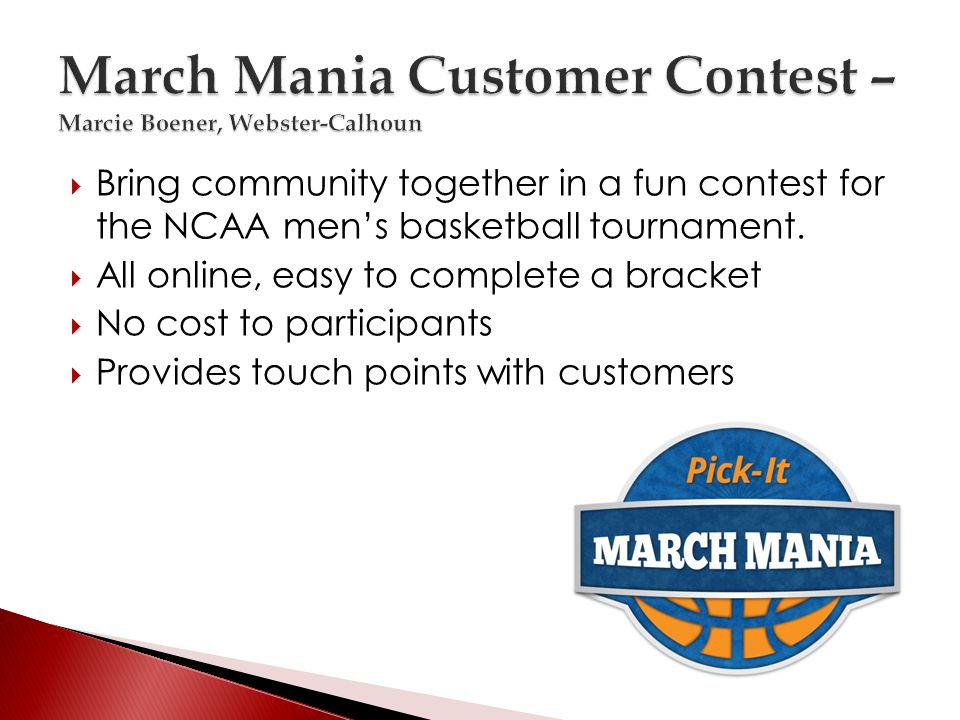 Bring community together in a fun contest for the NCAA mens basketball tournament.