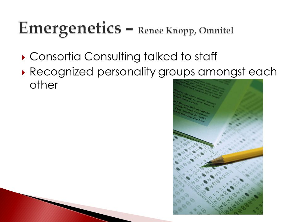 Consortia Consulting talked to staff Recognized personality groups amongst each other