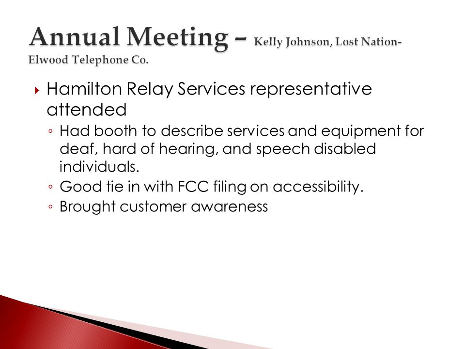 Hamilton Relay Services representative attended Had booth to describe services and equipment for deaf, hard of hearing, and speech disabled individuals.