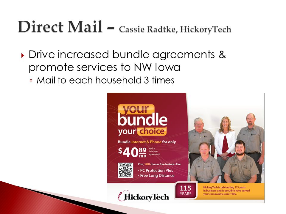 Drive increased bundle agreements & promote services to NW Iowa Mail to each household 3 times