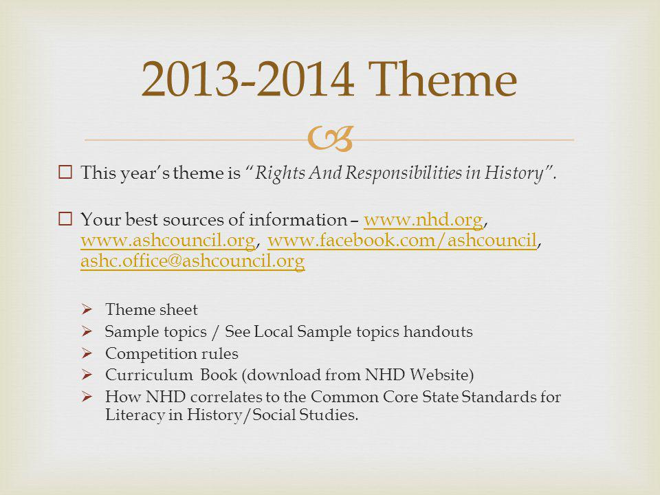 This years theme is Rights And Responsibilities in History. Your best sources of information – www.nhd.org, www.ashcouncil.org, www.facebook.com/ashco