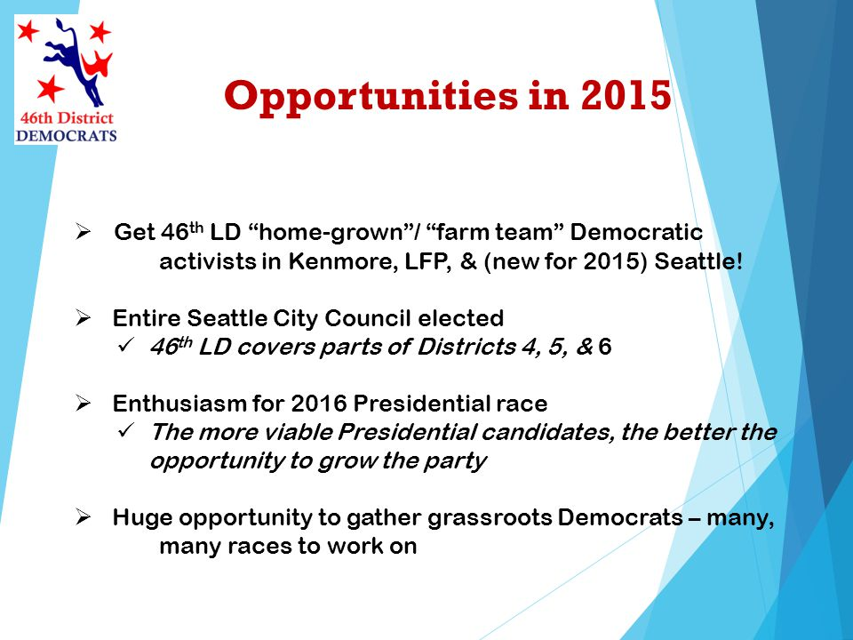 Opportunities in 2015 Get 46 th LD home-grown/ farm team Democratic activists in Kenmore, LFP, & (new for 2015) Seattle.