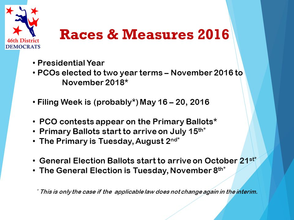 Races & Measures 2016 Presidential Year PCOs elected to two year terms – November 2016 to November 2018* Filing Week is (probably*) May 16 – 20, 2016 PCO contests appear on the Primary Ballots* Primary Ballots start to arrive on July 15 th* The Primary is Tuesday, August 2 nd* General Election Ballots start to arrive on October 21 st* The General Election is Tuesday, November 8 th* * This is only the case if the applicable law does not change again in the interim.
