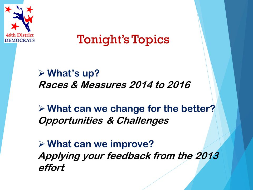 Tonights Topics Whats up. Races & Measures 2014 to 2016 What can we change for the better.