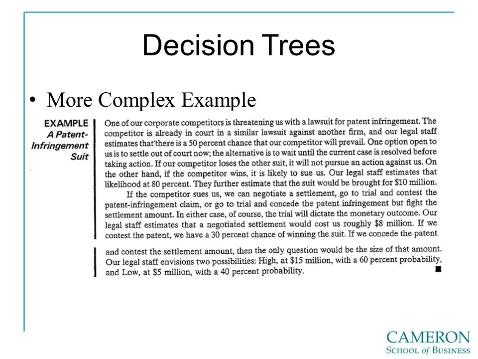 Decision Trees More Complex Example
