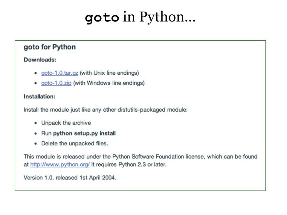 goto in Python…