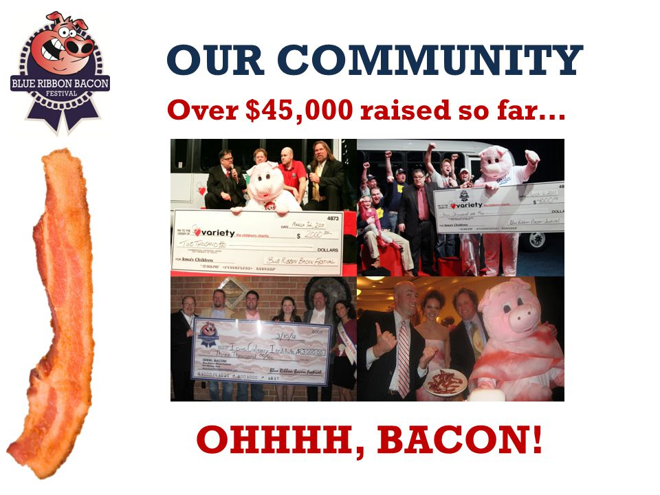 OUR COMMUNITY Over $45,000 raised so far… OHHHH, BACON!