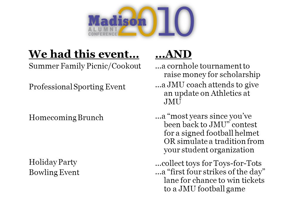 We had this event… Summer Family Picnic/Cookout Professional Sporting Event Homecoming Brunch Holiday Party Bowling Event …AND …a cornhole tournament to raise money for scholarship …a JMU coach attends to give an update on Athletics at JMU …a most years since youve been back to JMU contest for a signed football helmet OR simulate a tradition from your student organization …collect toys for Toys-for-Tots …a first four strikes of the day lane for chance to win tickets to a JMU football game