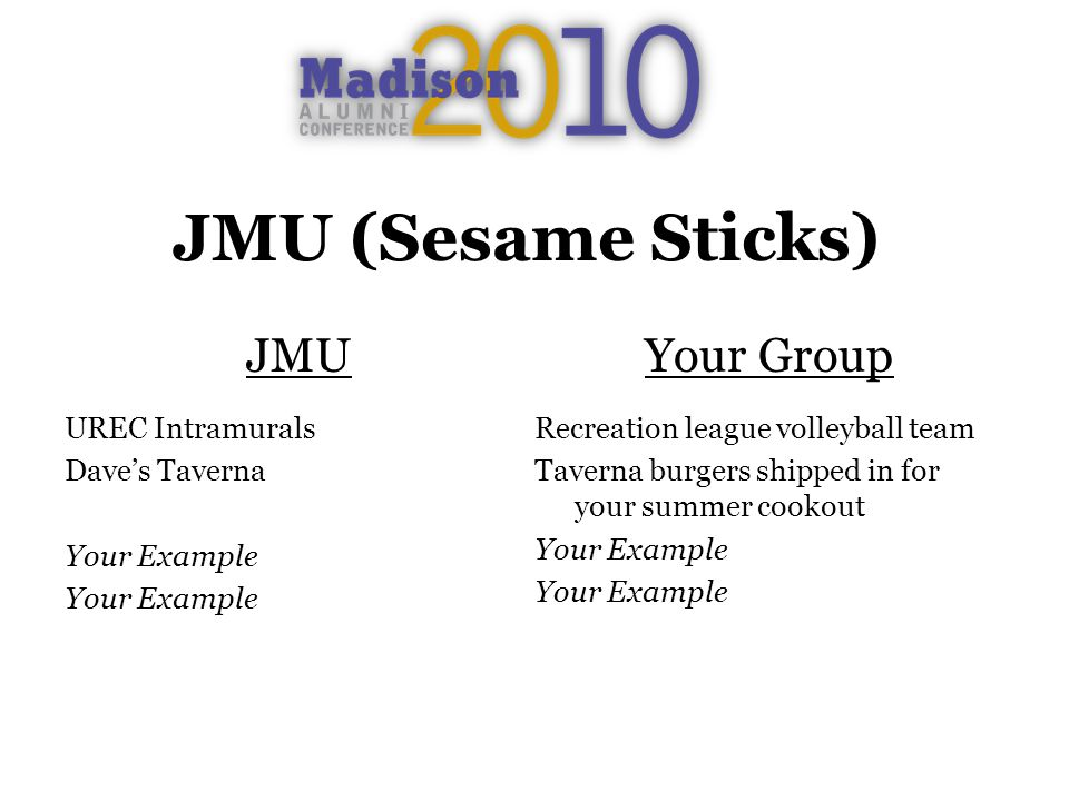 JMU (Sesame Sticks) JMU UREC Intramurals Daves Taverna Your Example Your Group Recreation league volleyball team Taverna burgers shipped in for your summer cookout Your Example