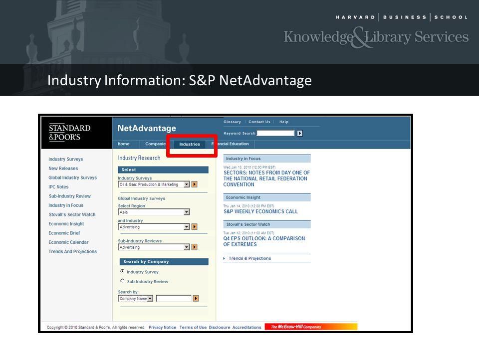 Industry Information: S&P NetAdvantage