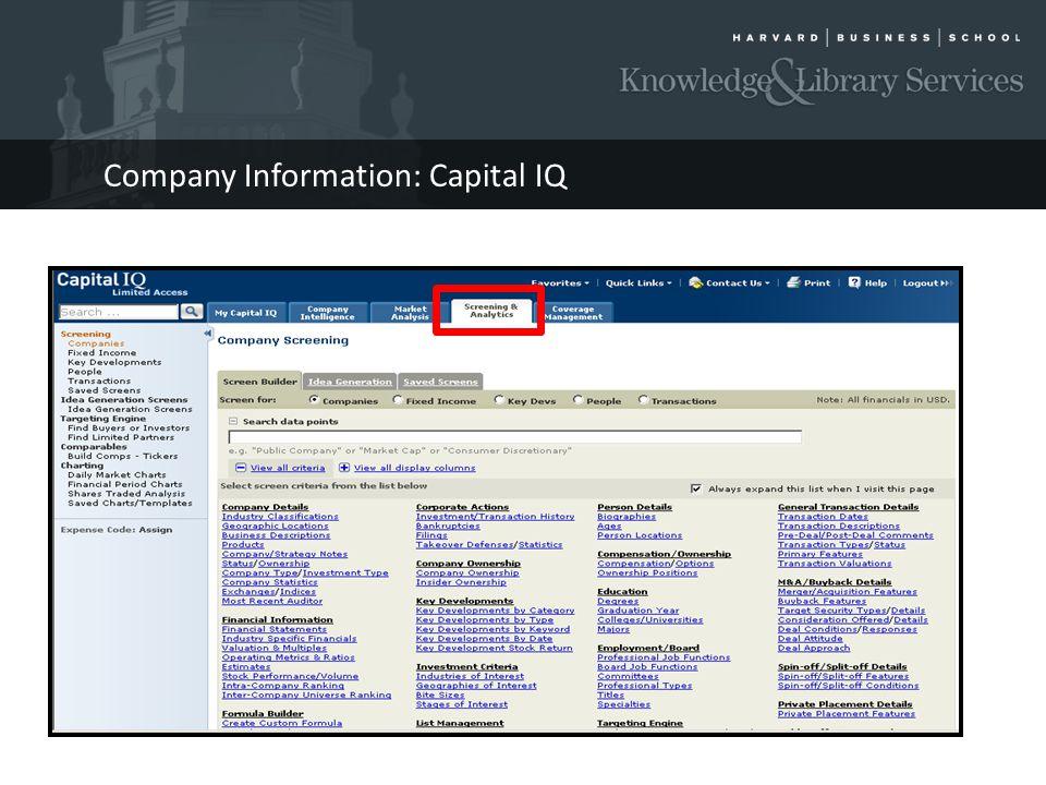 Company Information: Capital IQ