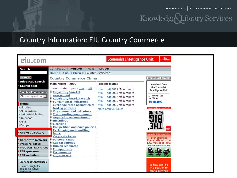 Country Information: EIU Country Commerce