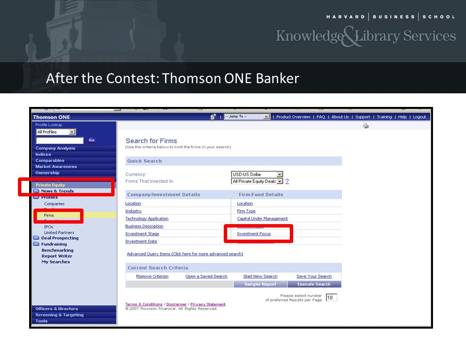 After the Contest: Thomson ONE Banker