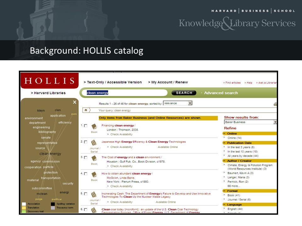 Background: HOLLIS catalog