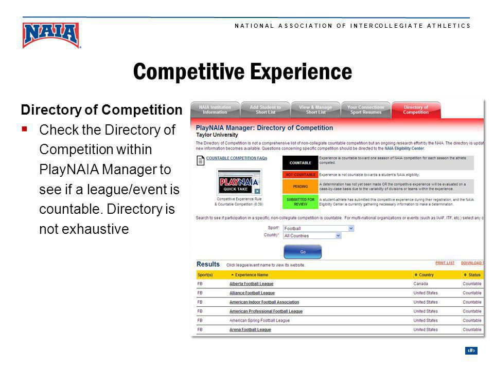 27 N A T I O N A L A S S O C I A T I O N O F I N T E R CO L L E G I A T E A T H L E T I C S Directory of Competition Check the Directory of Competition within PlayNAIA Manager to see if a league/event is countable.