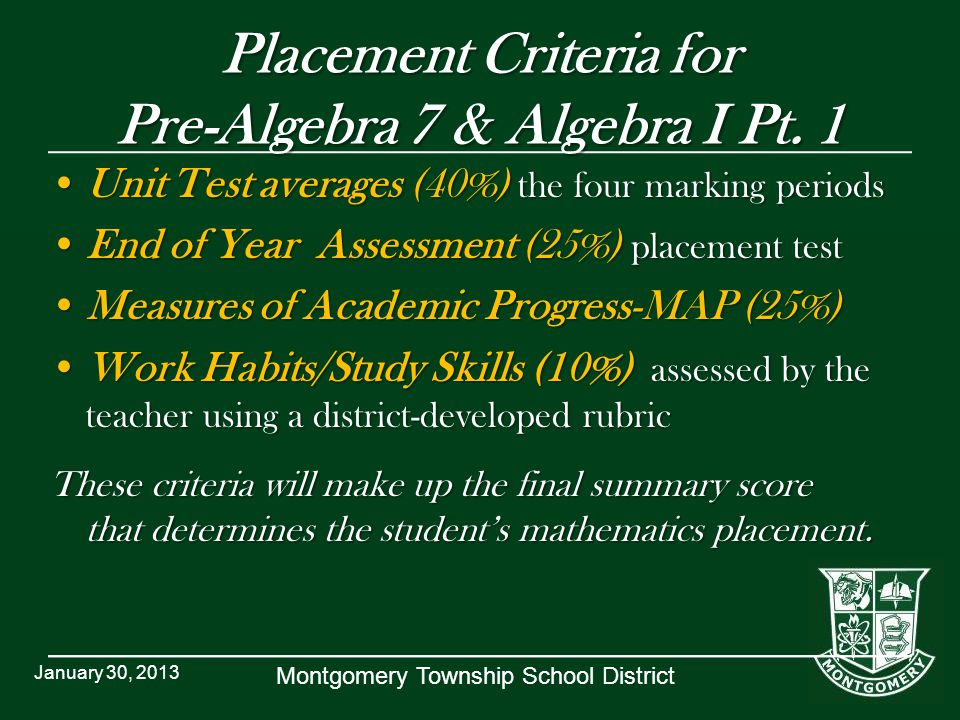 Montgomery Township School District Placement Criteria for Pre-Algebra 7 & Algebra I Pt. 1 Unit Test averages (40%) the four marking periodsUnit Test