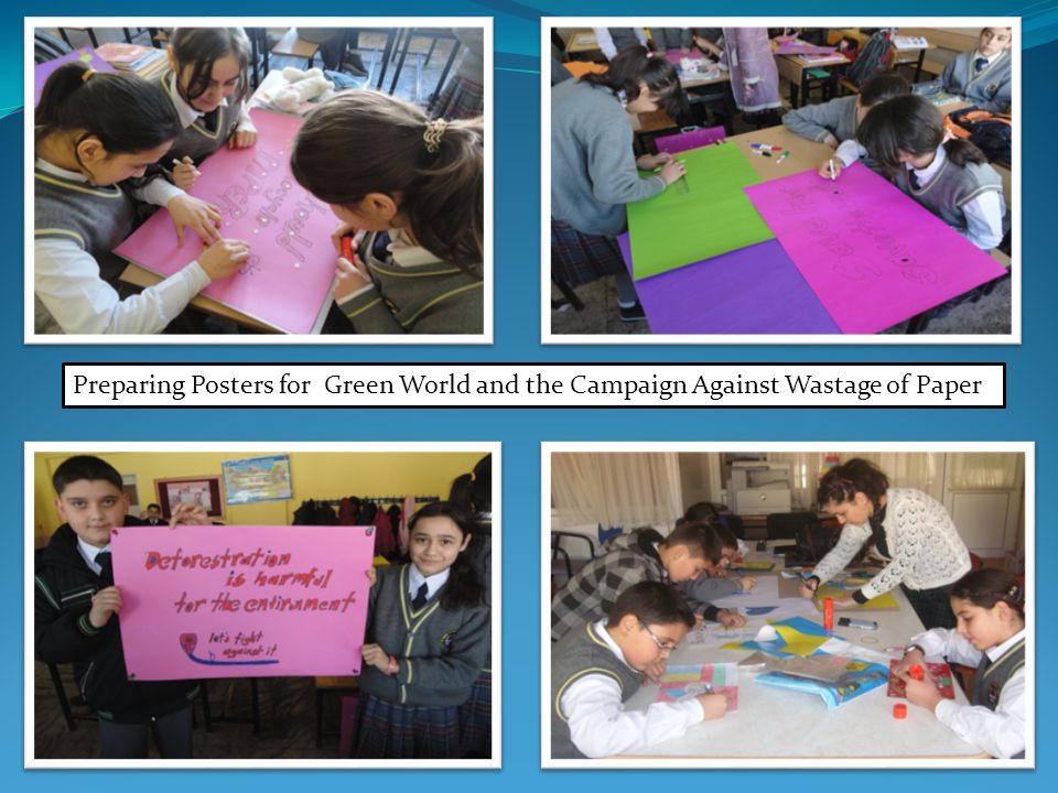 Preparing Posters for Green World and the Campaign Against Wastage of Paper