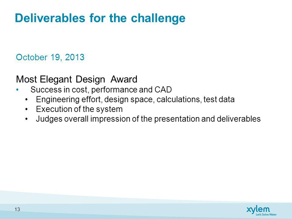 Deliverables for the challenge October 19, 2013 Most Elegant Design Award Success in cost, performance and CAD Engineering effort, design space, calculations, test data Execution of the system Judges overall impression of the presentation and deliverables 13
