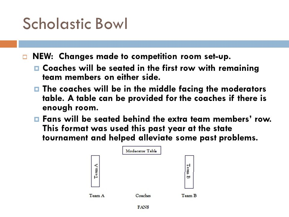 Scholastic Bowl NEW: Changes made to competition room set-up. Coaches will be seated in the first row with remaining team members on either side. The