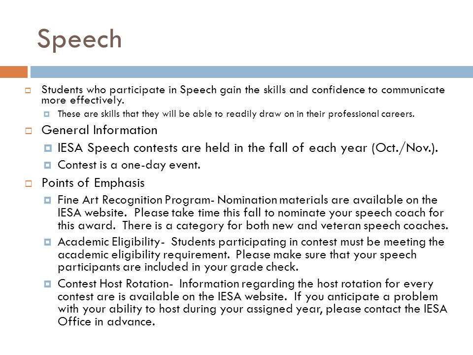 Speech Students who participate in Speech gain the skills and confidence to communicate more effectively. These are skills that they will be able to r