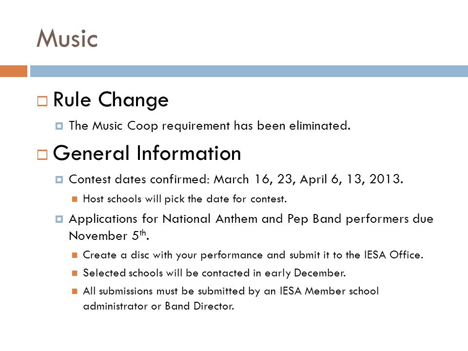 Music Rule Change The Music Coop requirement has been eliminated. General Information Contest dates confirmed: March 16, 23, April 6, 13, 2013. Host s