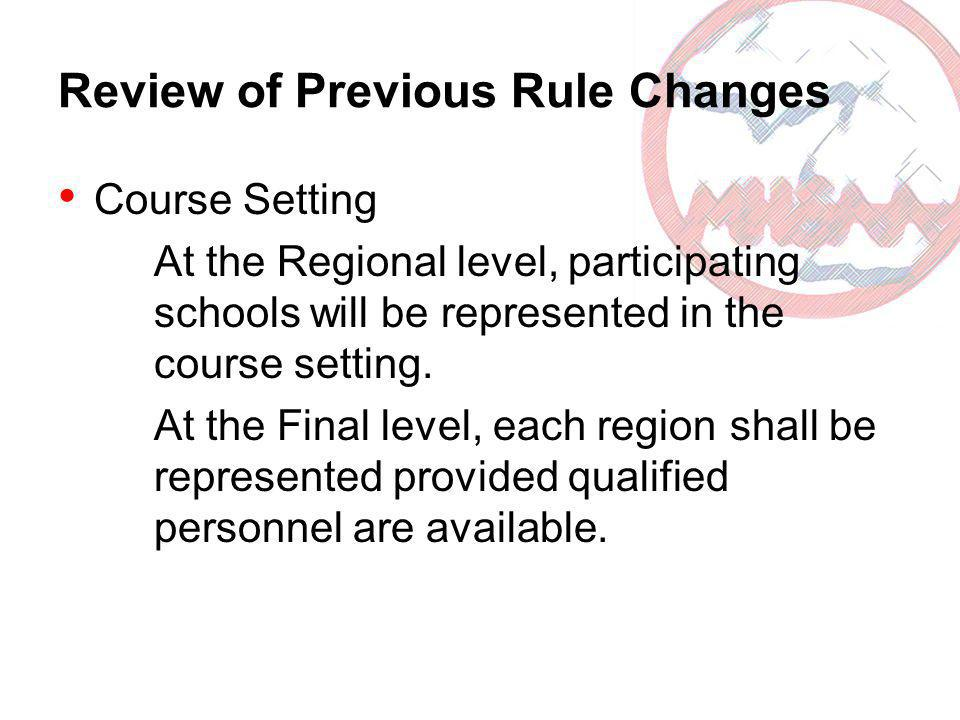 Review of Previous Rule Changes Course Setting At the Regional level, participating schools will be represented in the course setting. At the Final le